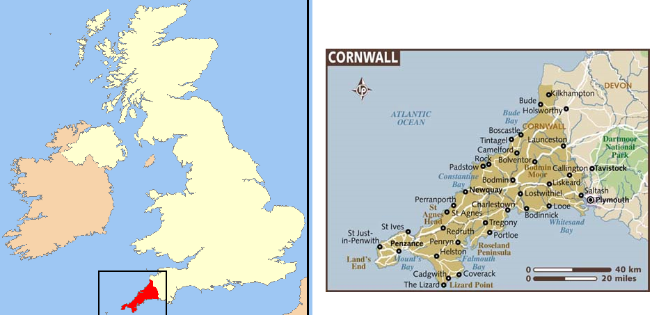 cornwall UK map